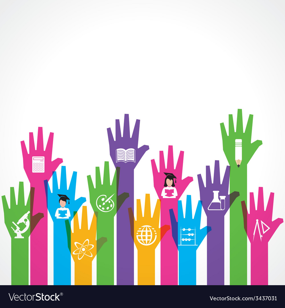Education icons on up hand vector