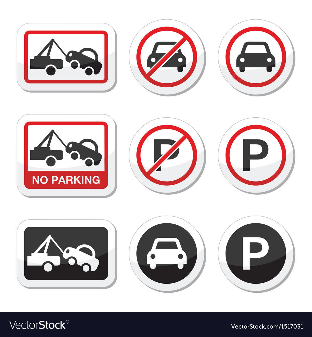 No parking parking forbidden red and black sign vector