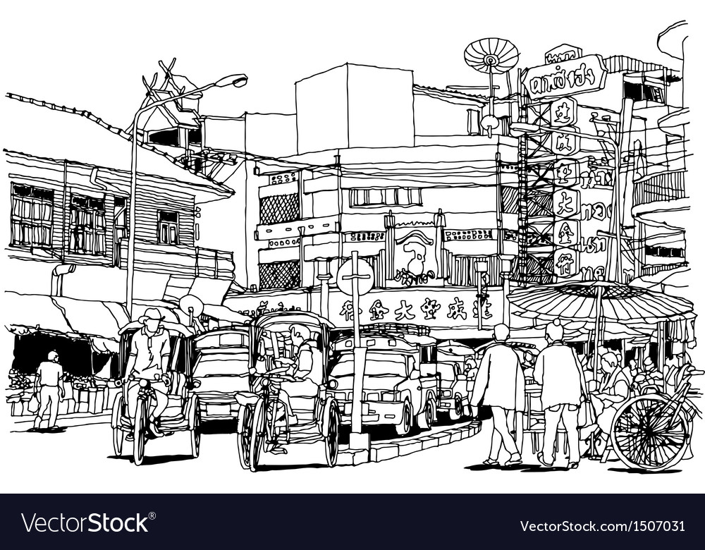 Street life sketchbook vector