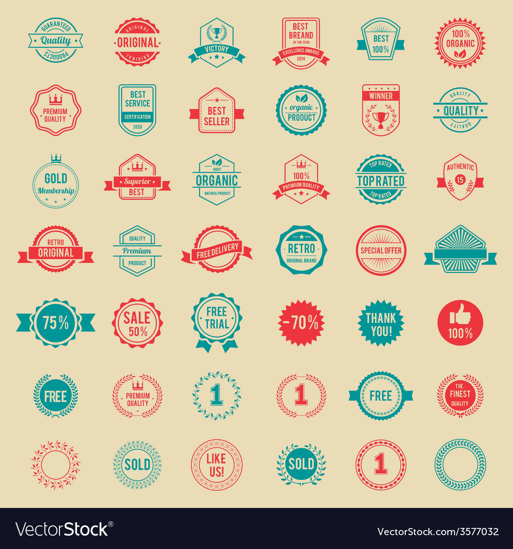 Colored vintage badges and labels vector