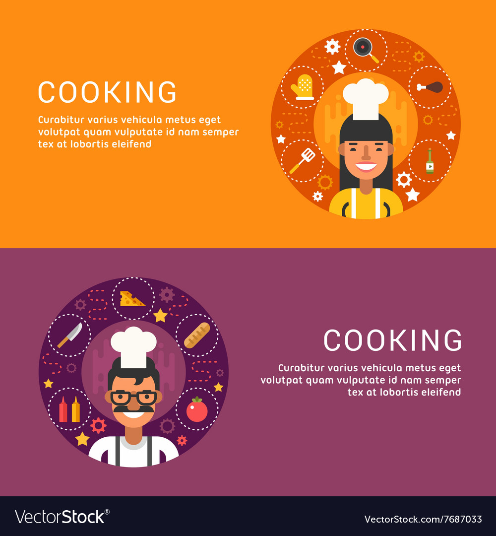 Flat design concept for web banners cooking food vector