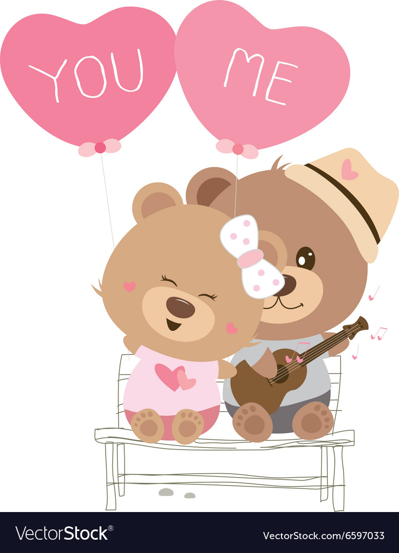Love concept of couple teddy bear doll sing a song vector