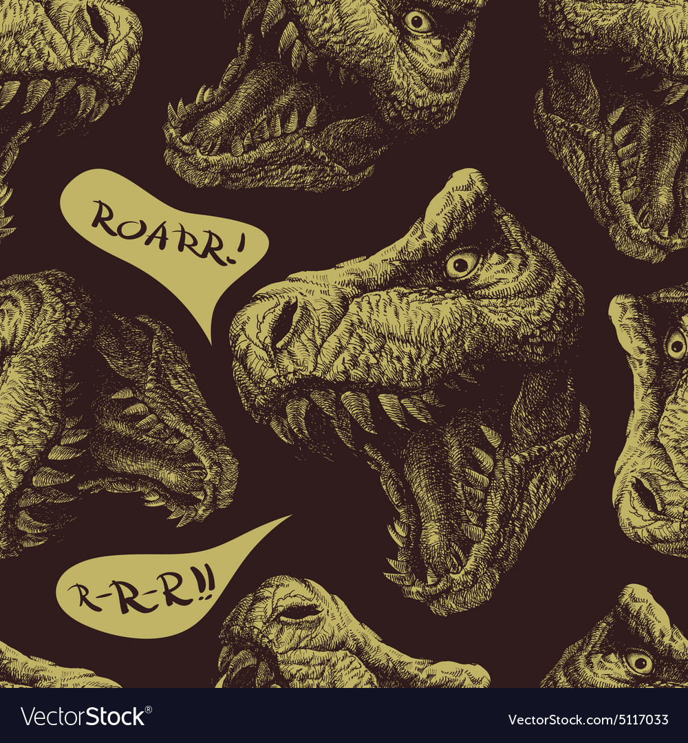 Trex dinosaur seamless background eps 8 vector