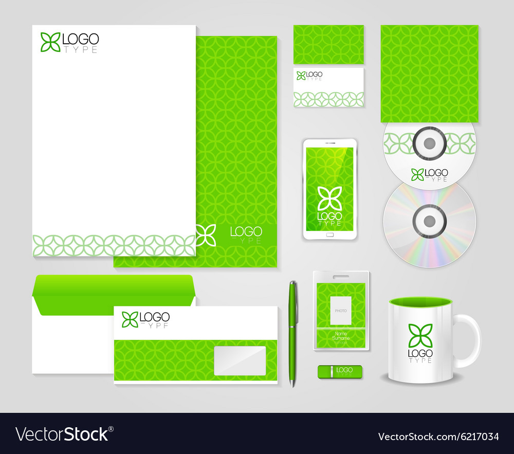 Eco green corporate identity template vector
