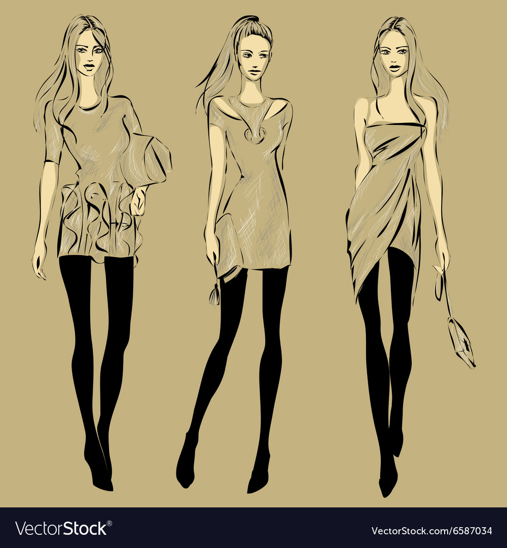 Fashion models in sketch style fall winter vector