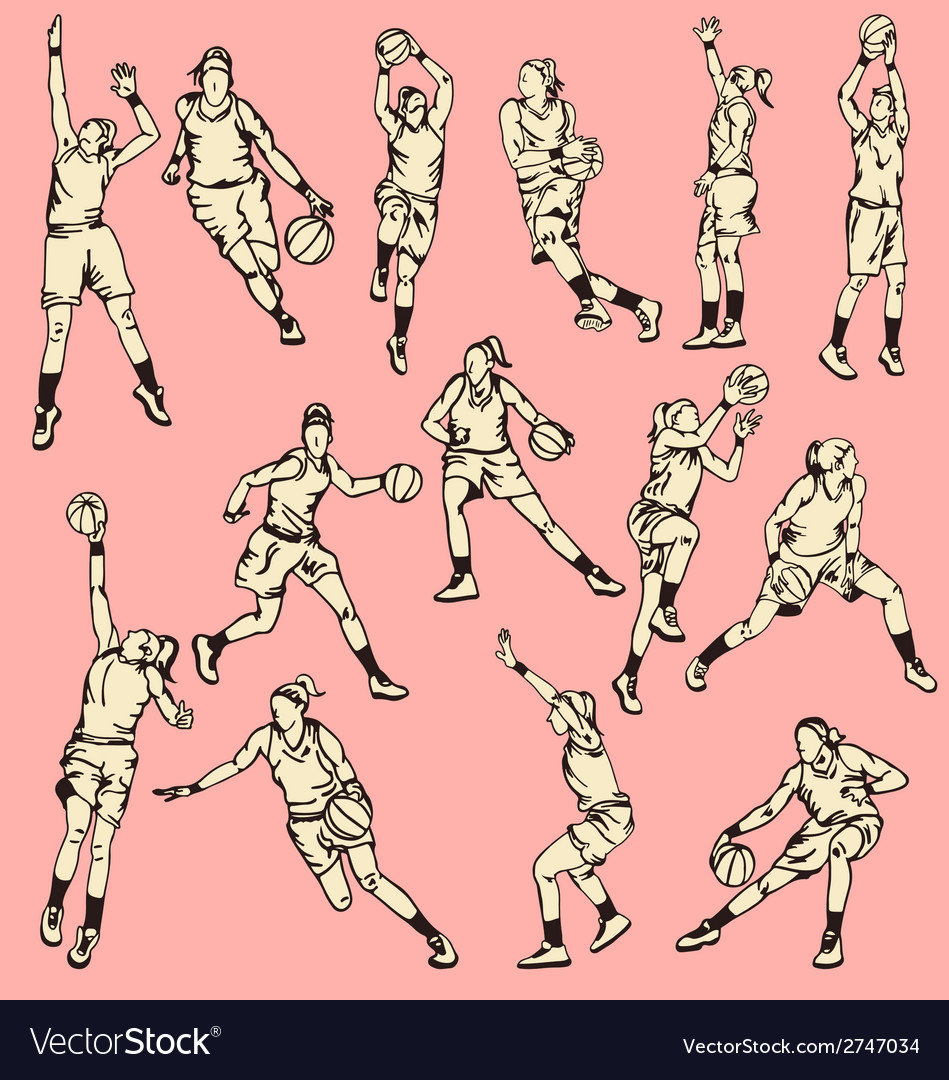 Woman basketball action sport vector
