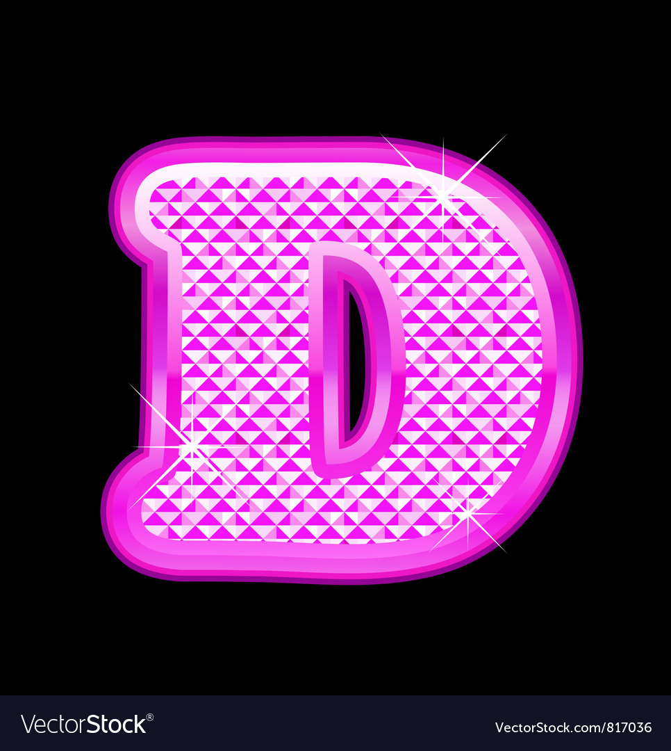 D letter pink bling girly vector