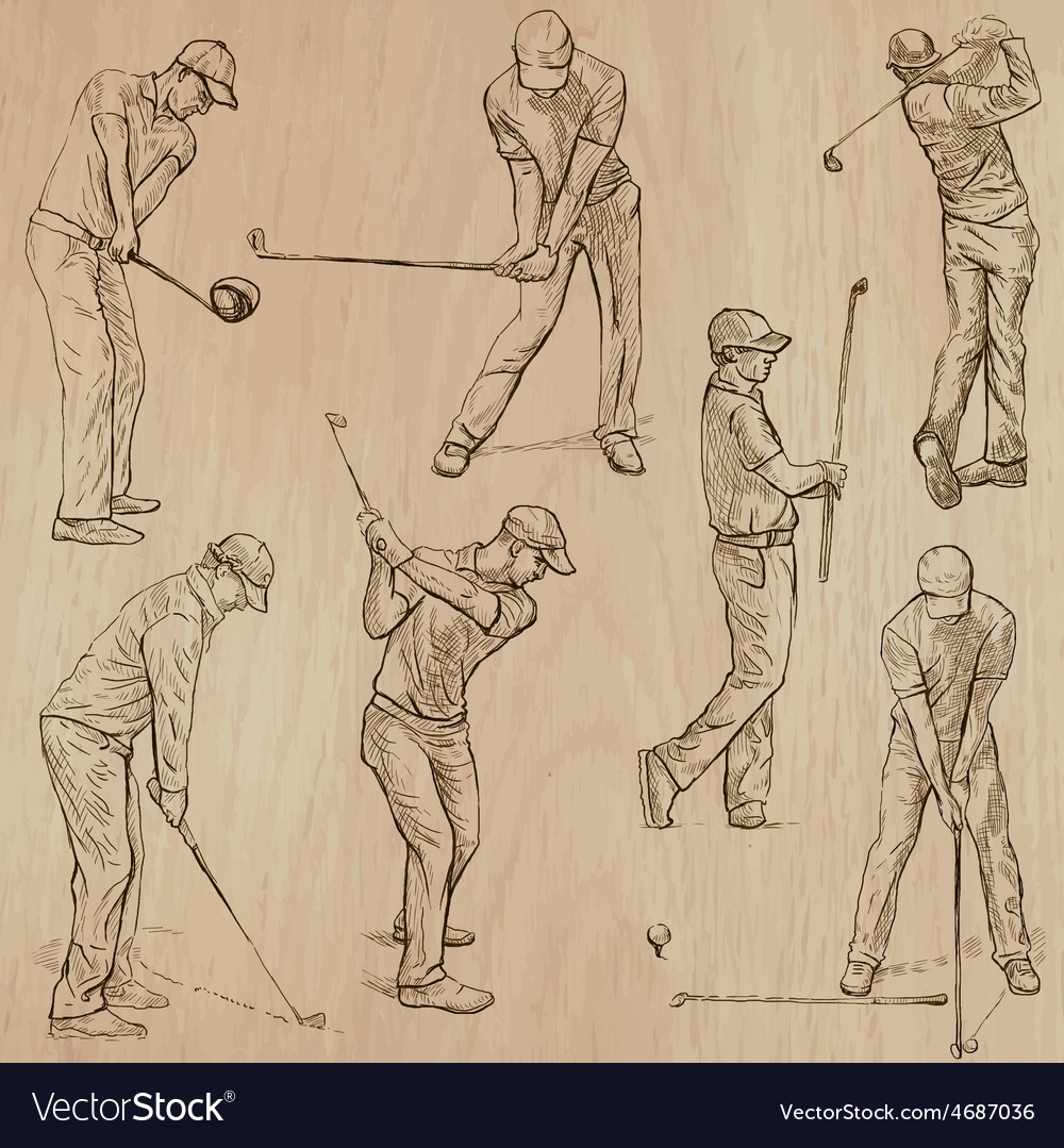 Golf and golfers  hand drawn vector