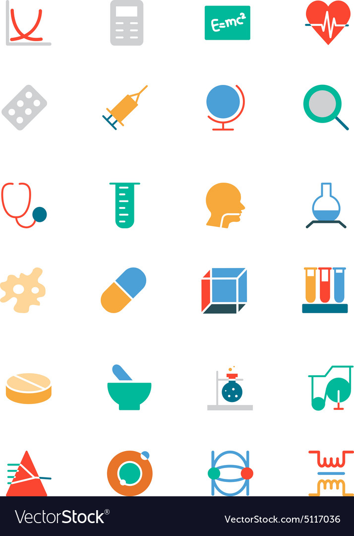 Science colored icons 2 vector