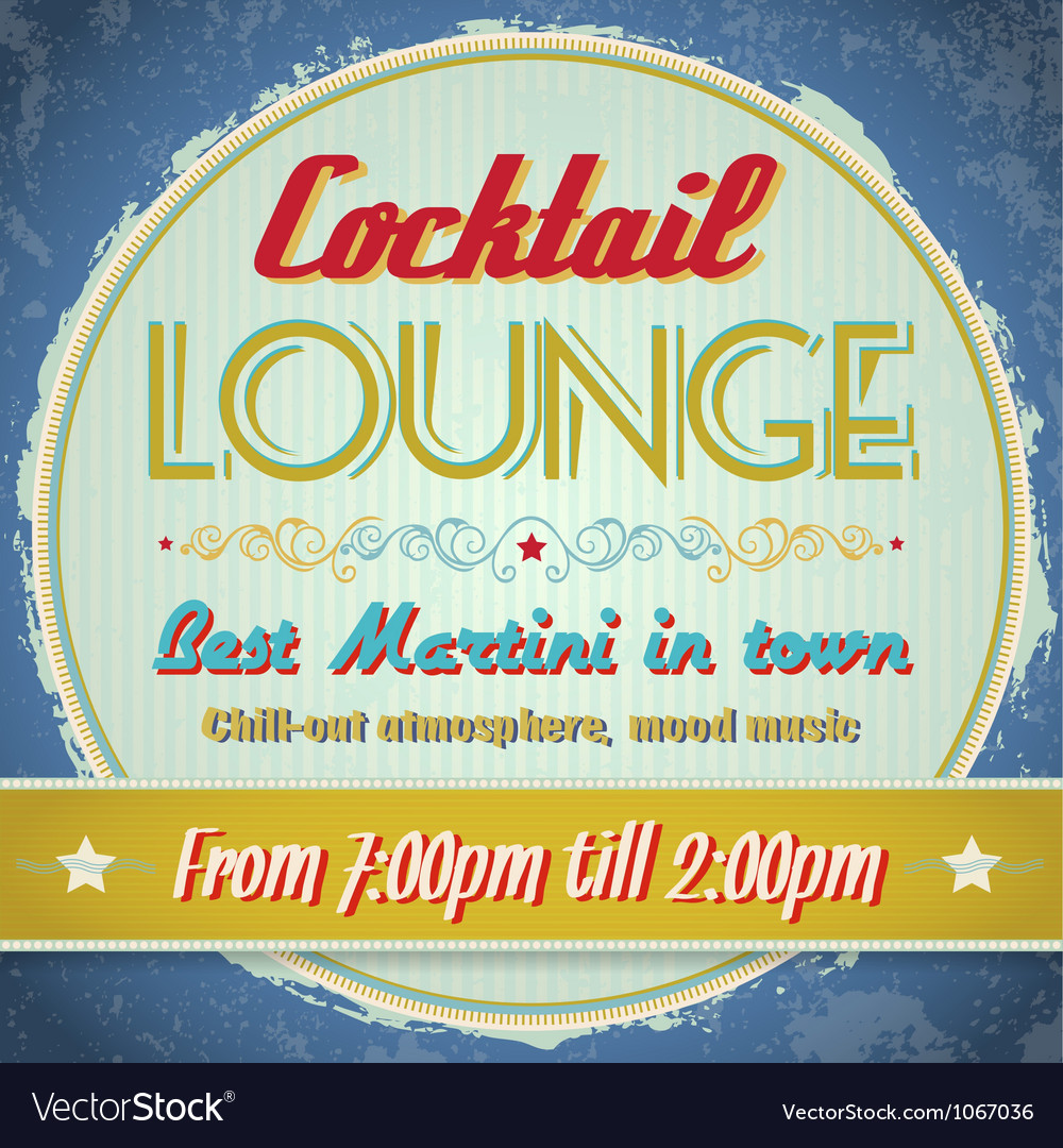 Vintage sign  cocktail lounge vector