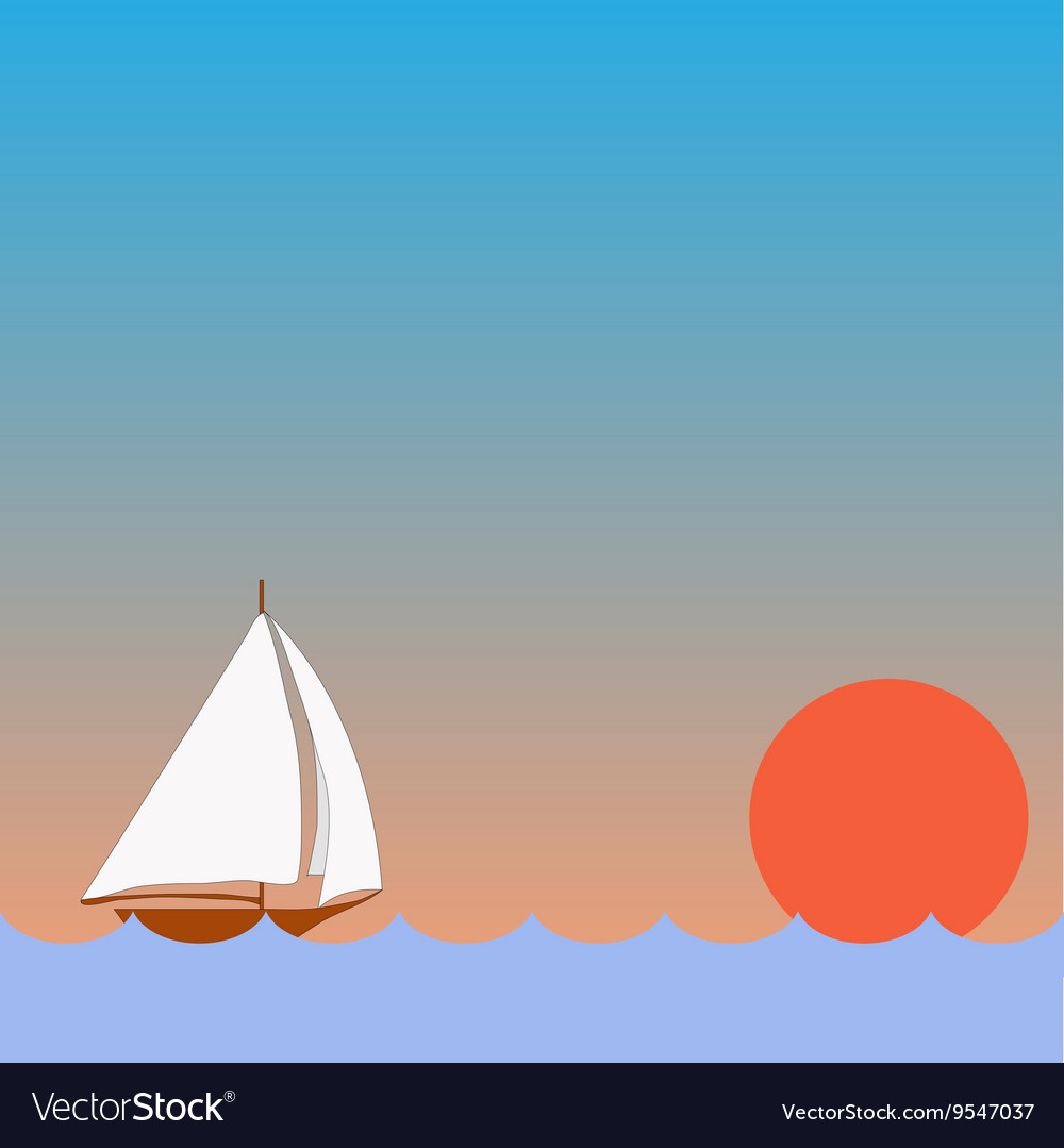 Sailing boat with sunset vector