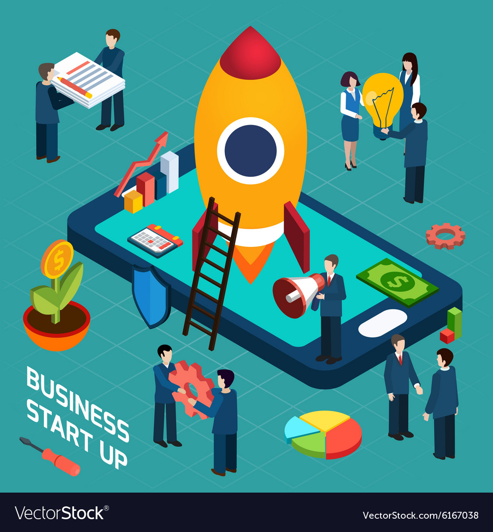 Business startup launch concept isometric poster vector
