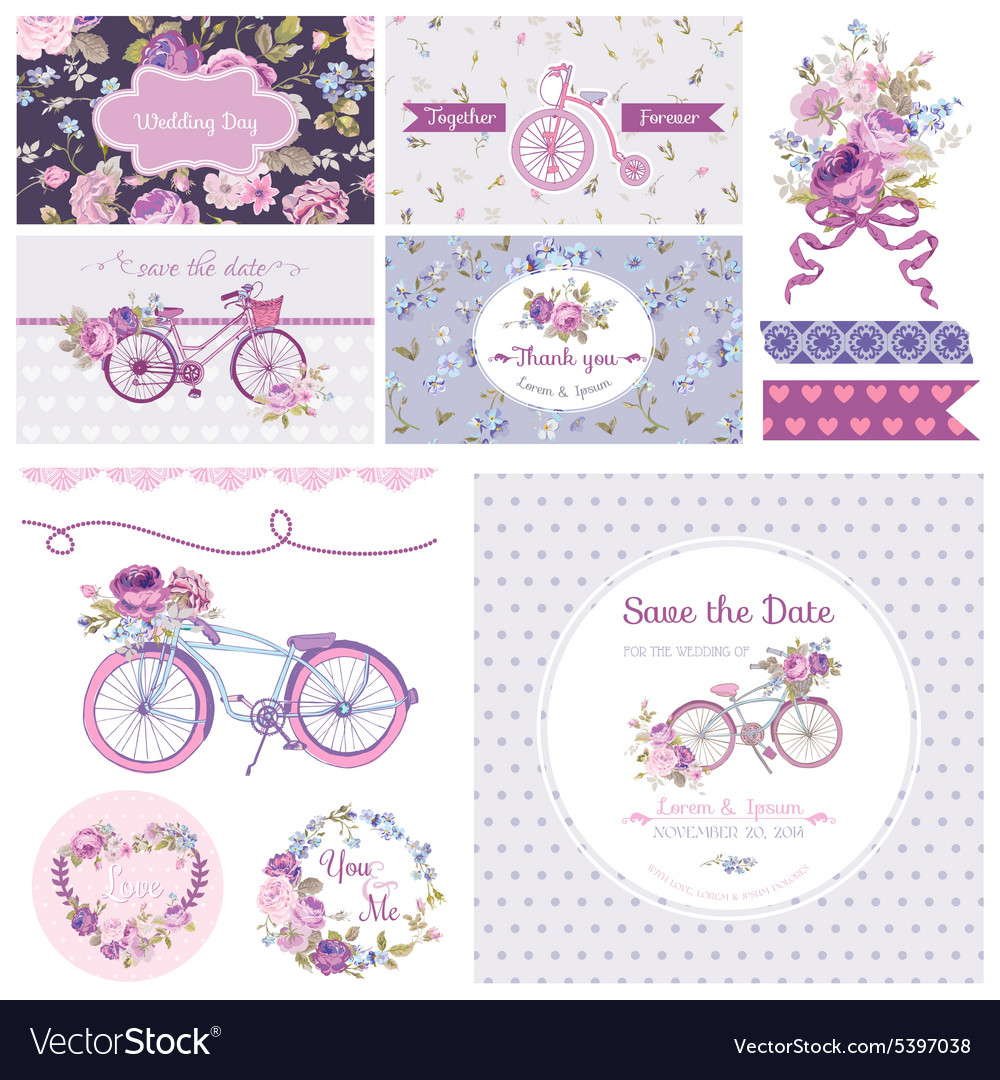 Scrapbook design elements  wedding party vector