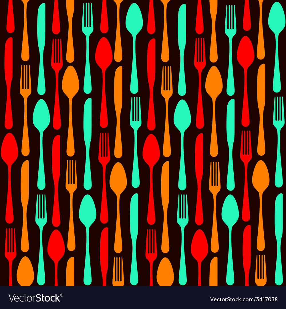 Seamless silverware background vector