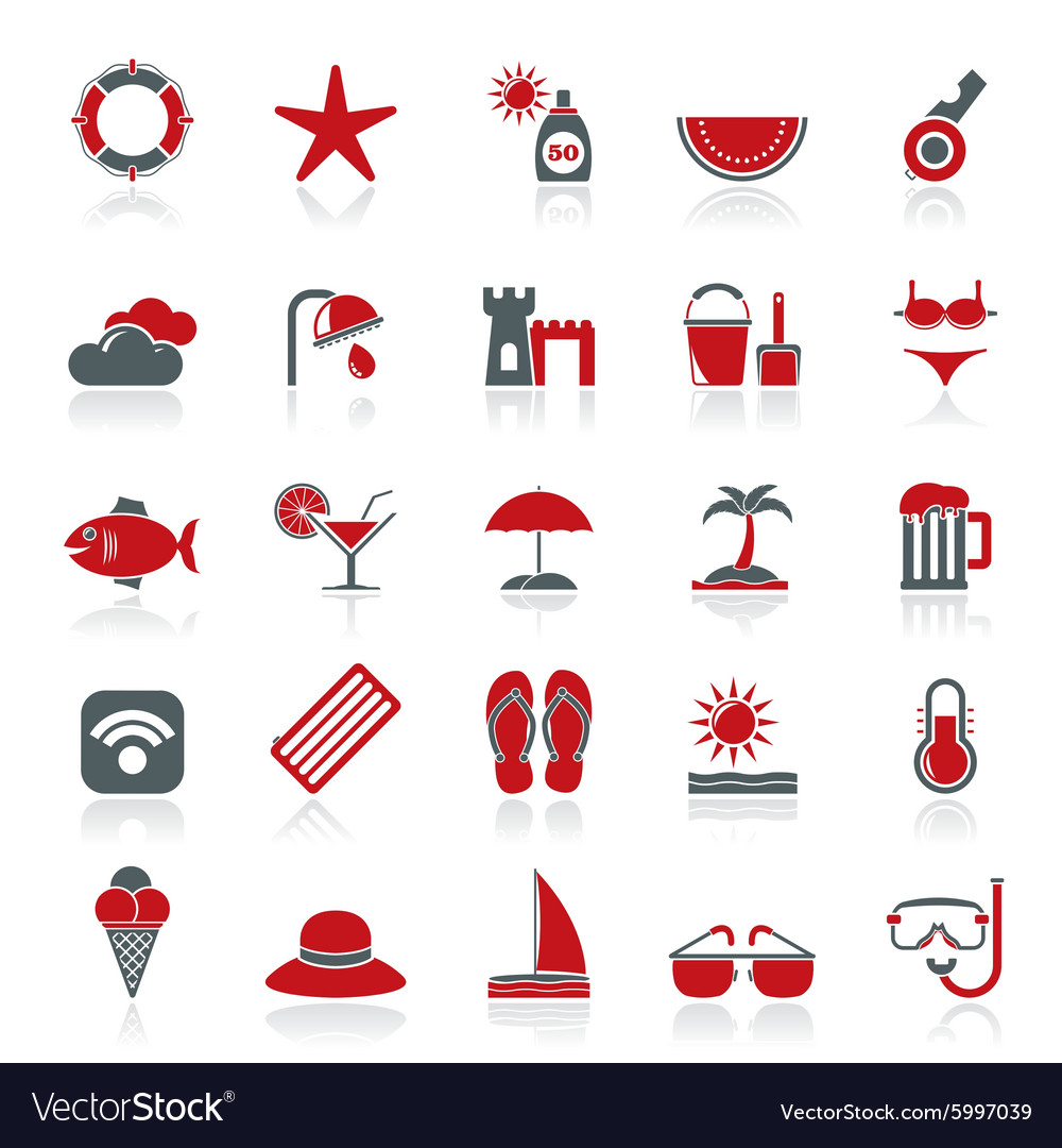 Beach resort and entertainment icons vector