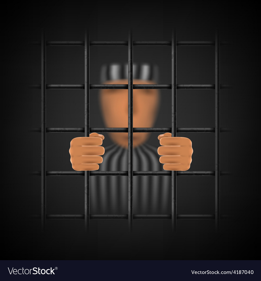 A convicted person behind a prison cell vector