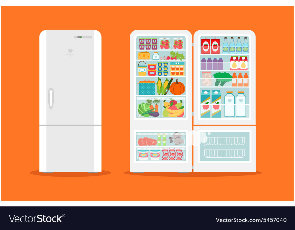 Full of food opened refrigerator vector