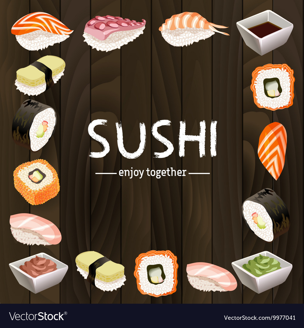 Sushi background design vector