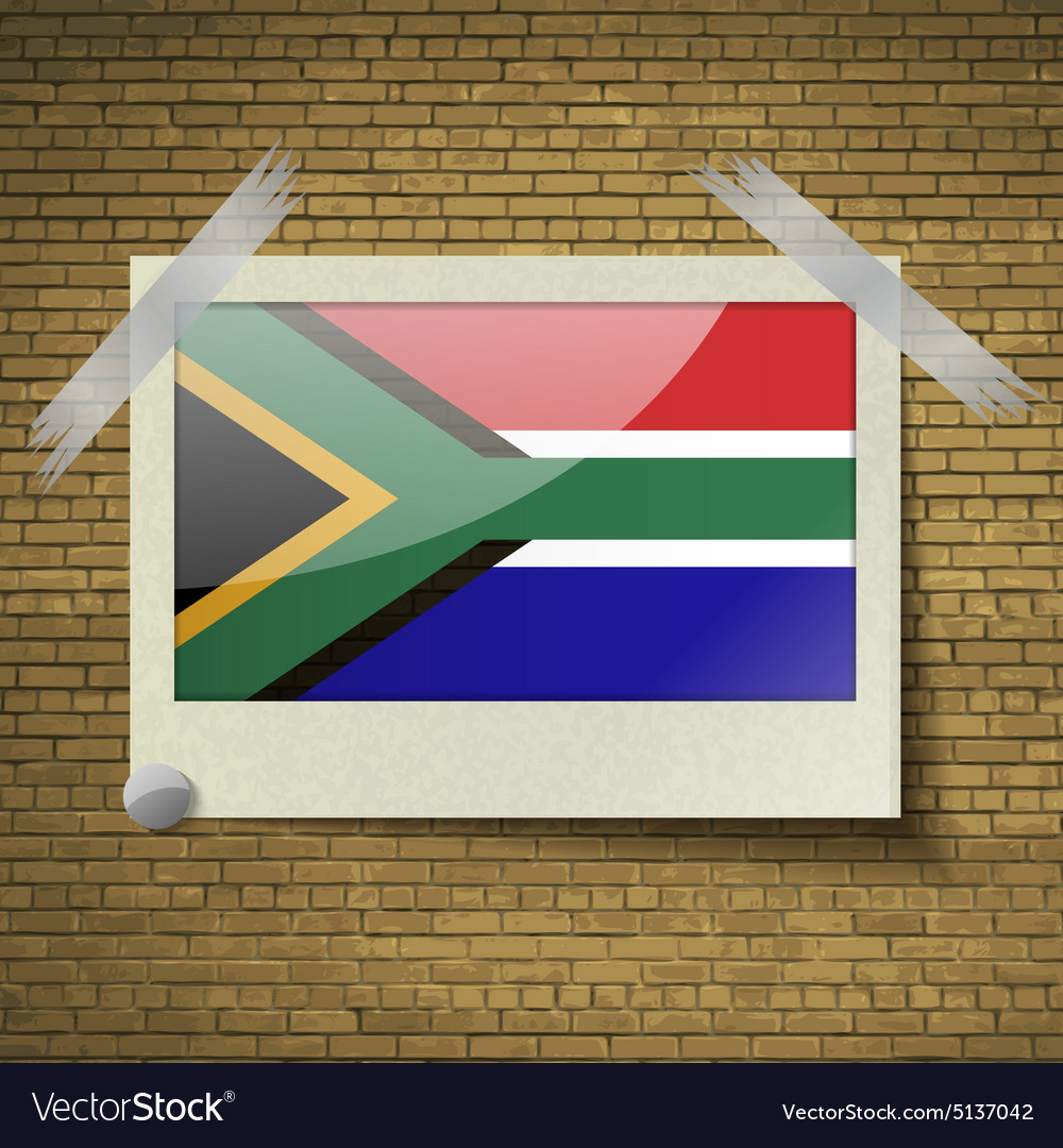 Flags south afreicaat frame on a brick background vector