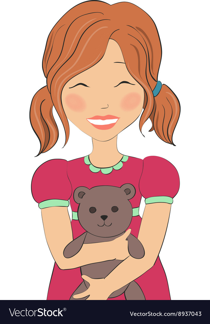 A girl with a bear vector