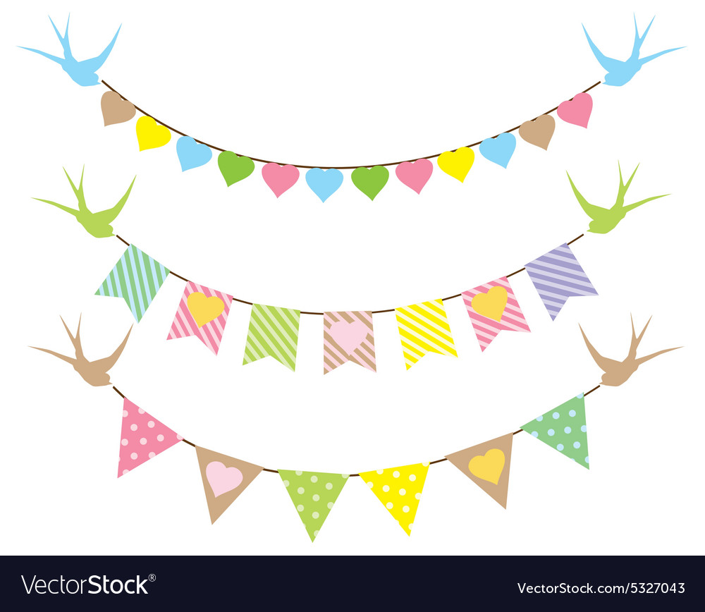 Bunting hearts swallows vector