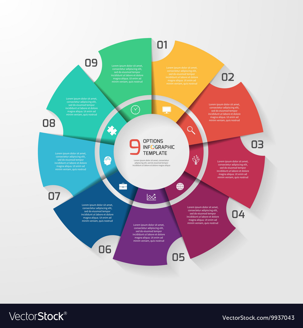 Circle infographic 9 options vector