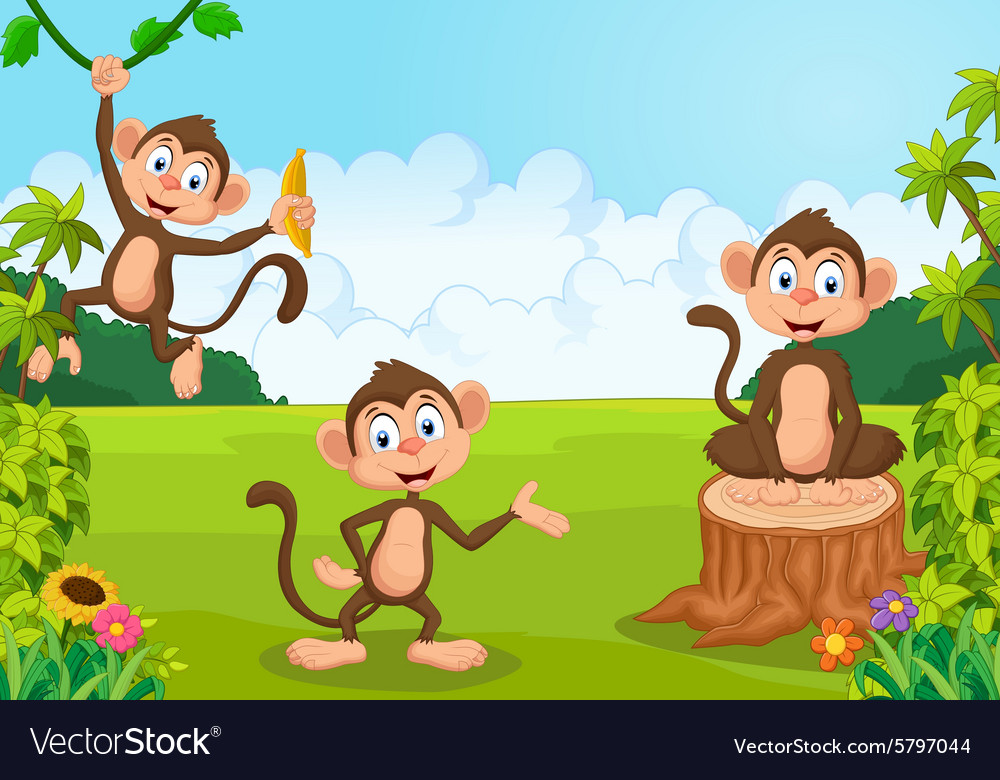 Cartoon monkey playing in the forest vector
