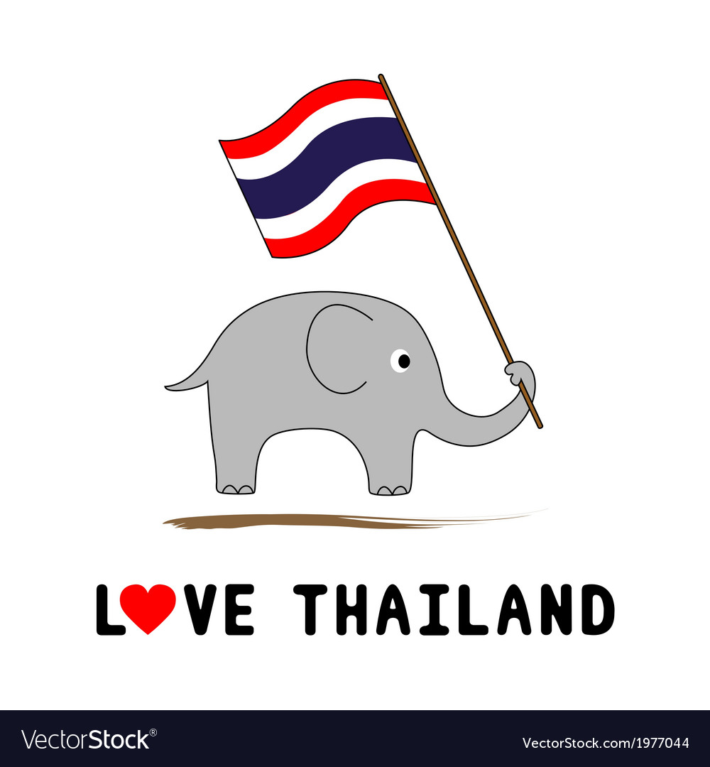 Elephant hold thai flag4 vector