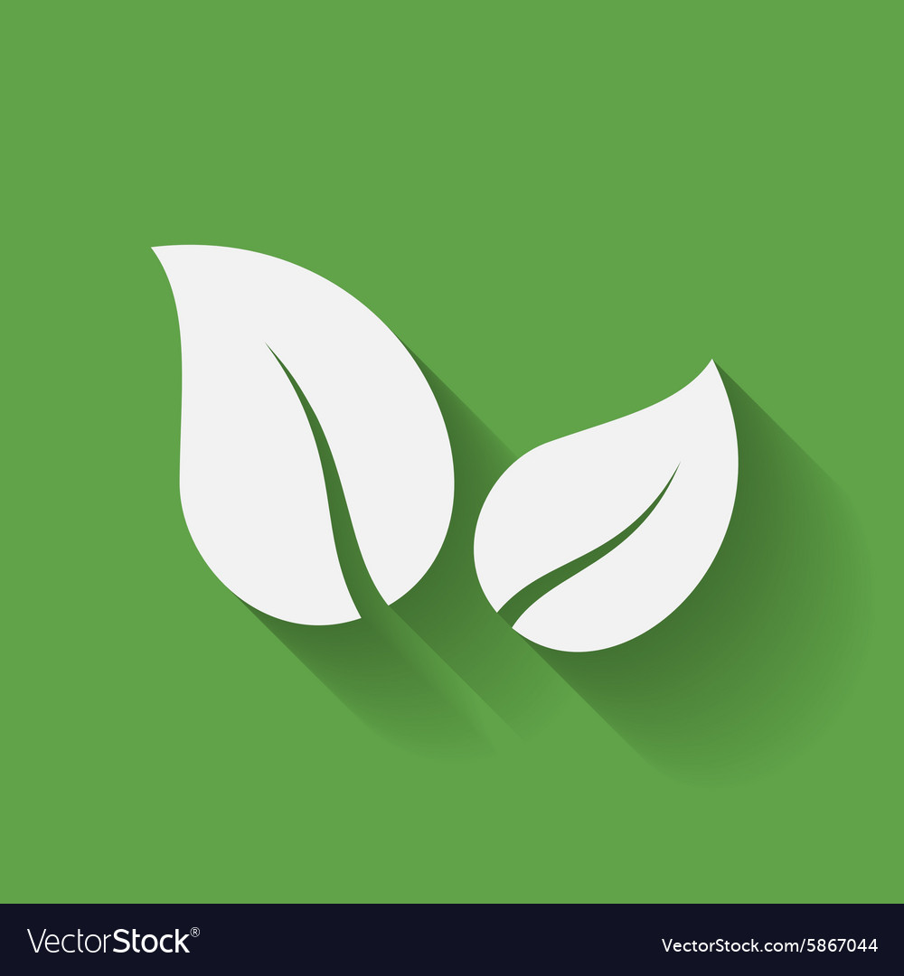 Icon of leaf two leaves simple symbol vector