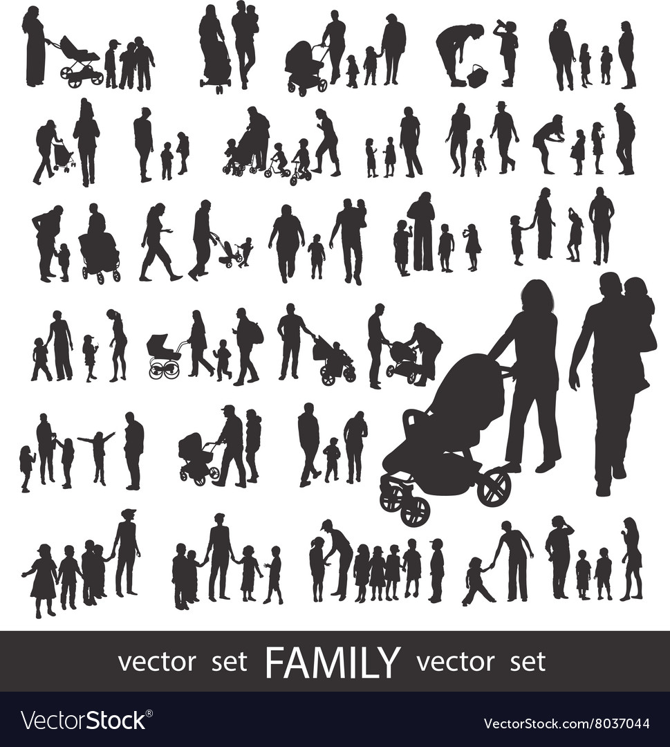 People silhouettes isolated on white vector