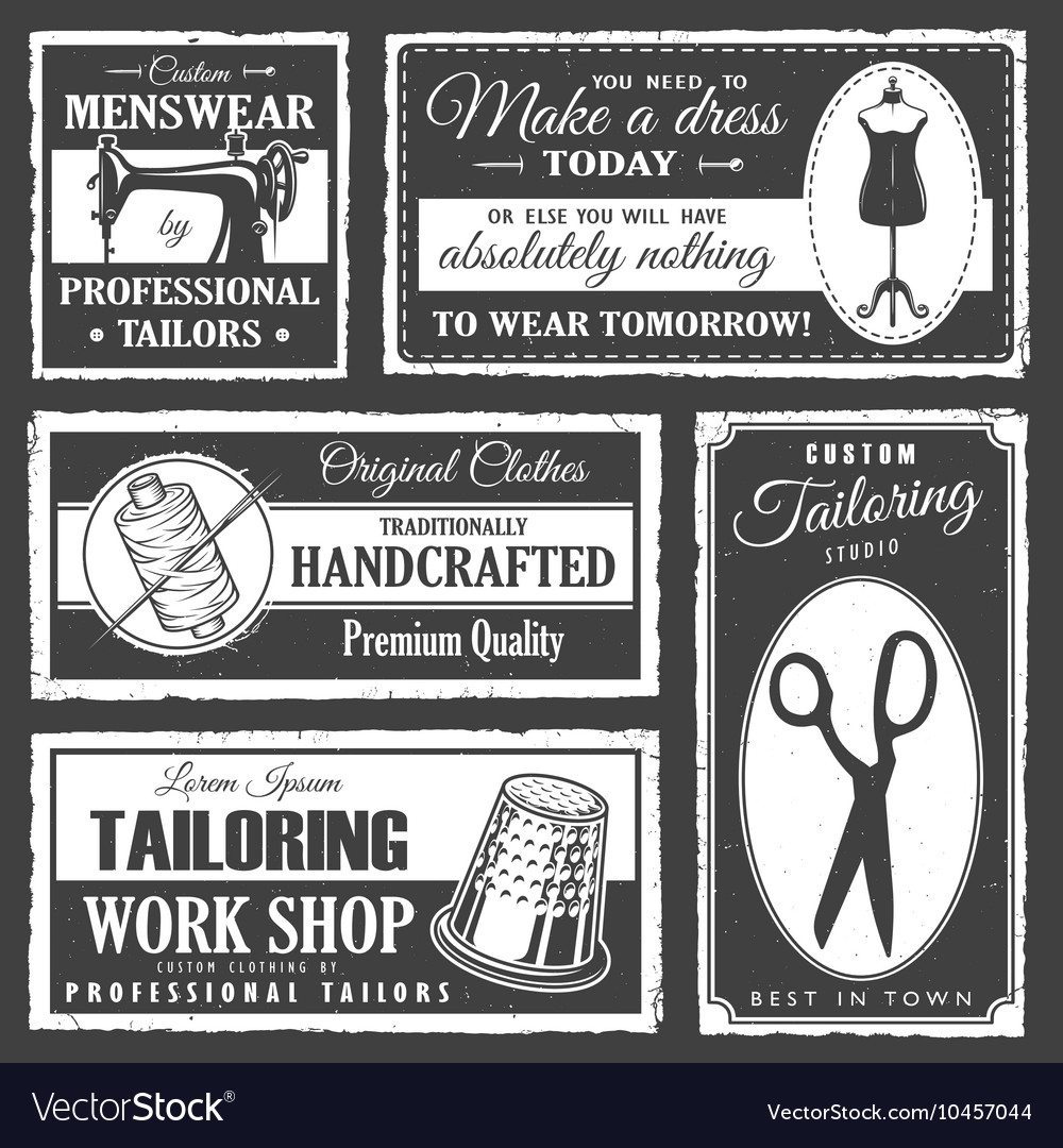 Professional tailor labels set vector
