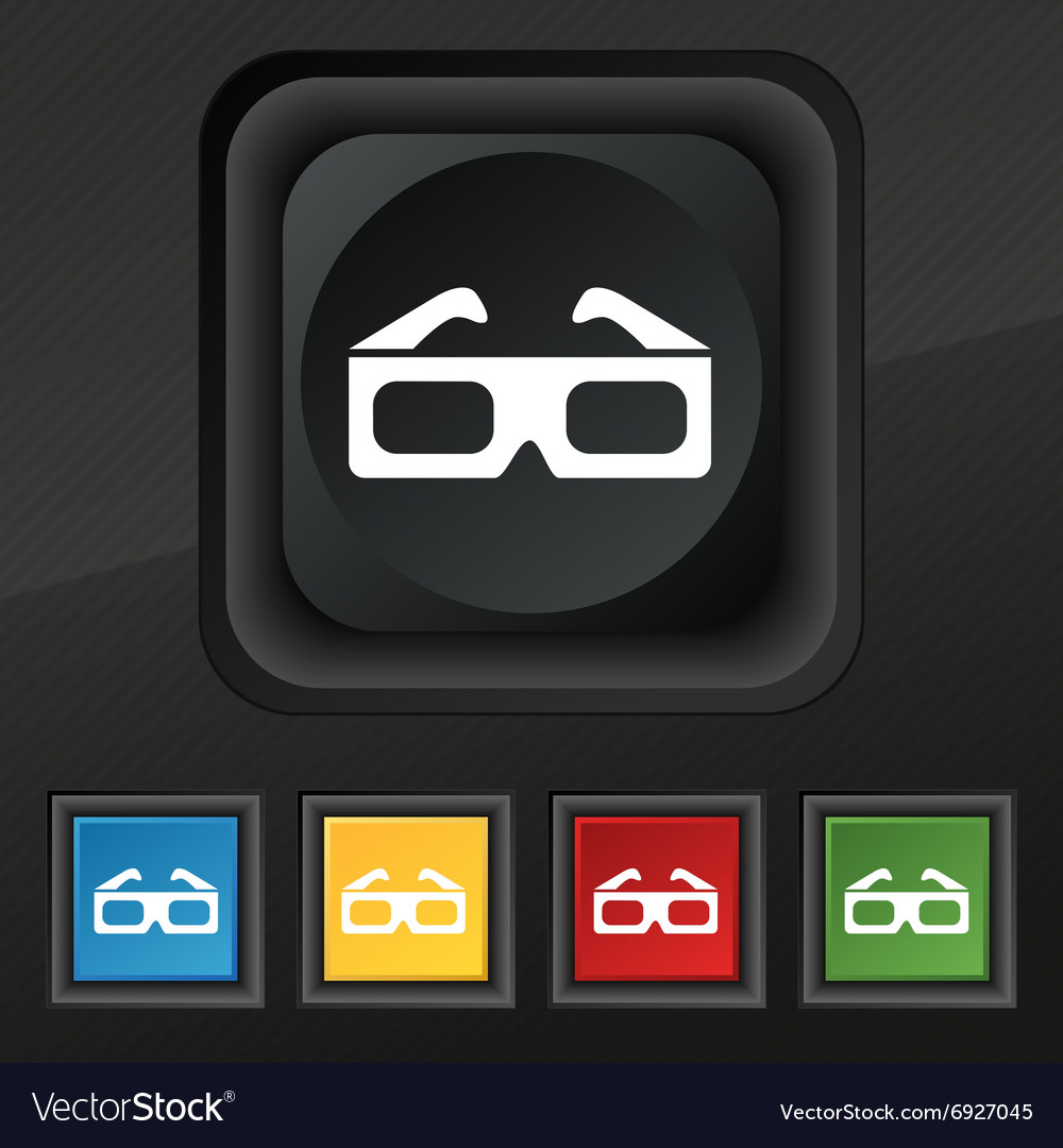 3d glasses icon symbol set of five colorful vector