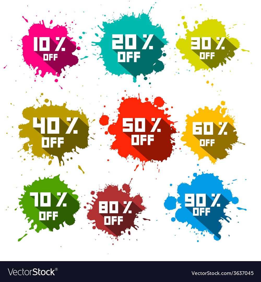Discount splashes  labels set vector