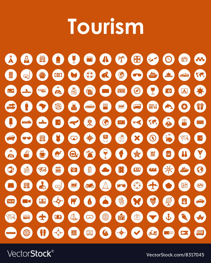 Set of tourism simple icons vector