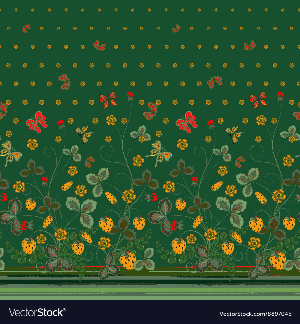 Vertical seamless spring dark floral pattern with vector
