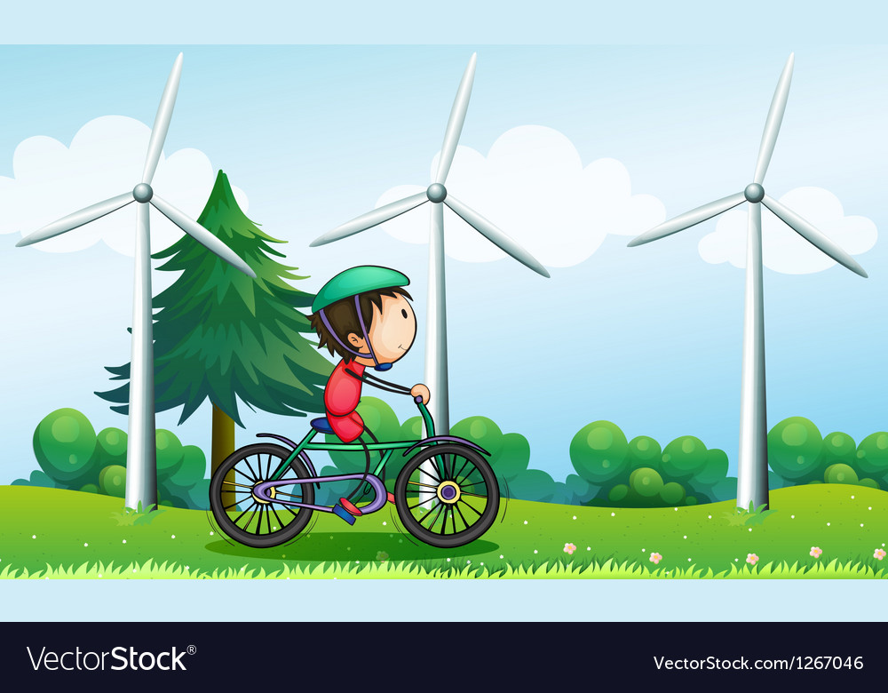 A boy riding with his bike near the windmills vector