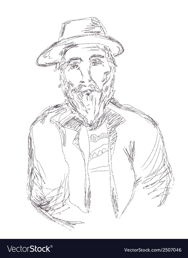 Old man sketch hand drawn vector