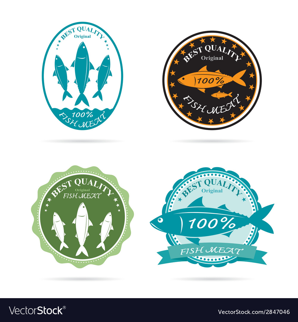 Set of an fish label vector