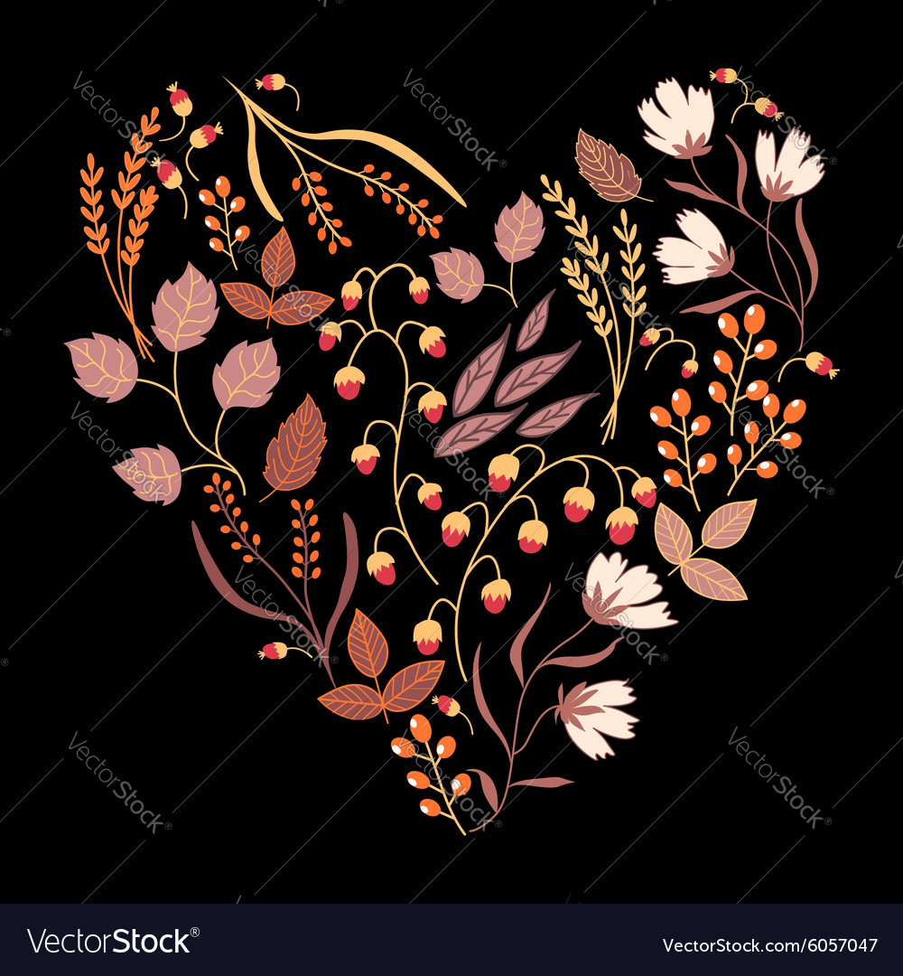 Dark autumn floral card fall autumn leaves in the vector