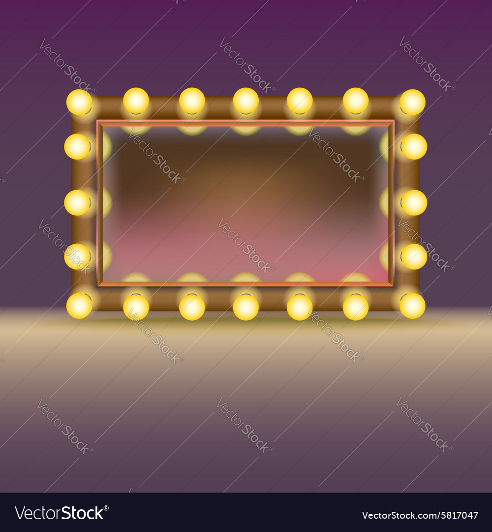 Makeup mirror with lamps vector