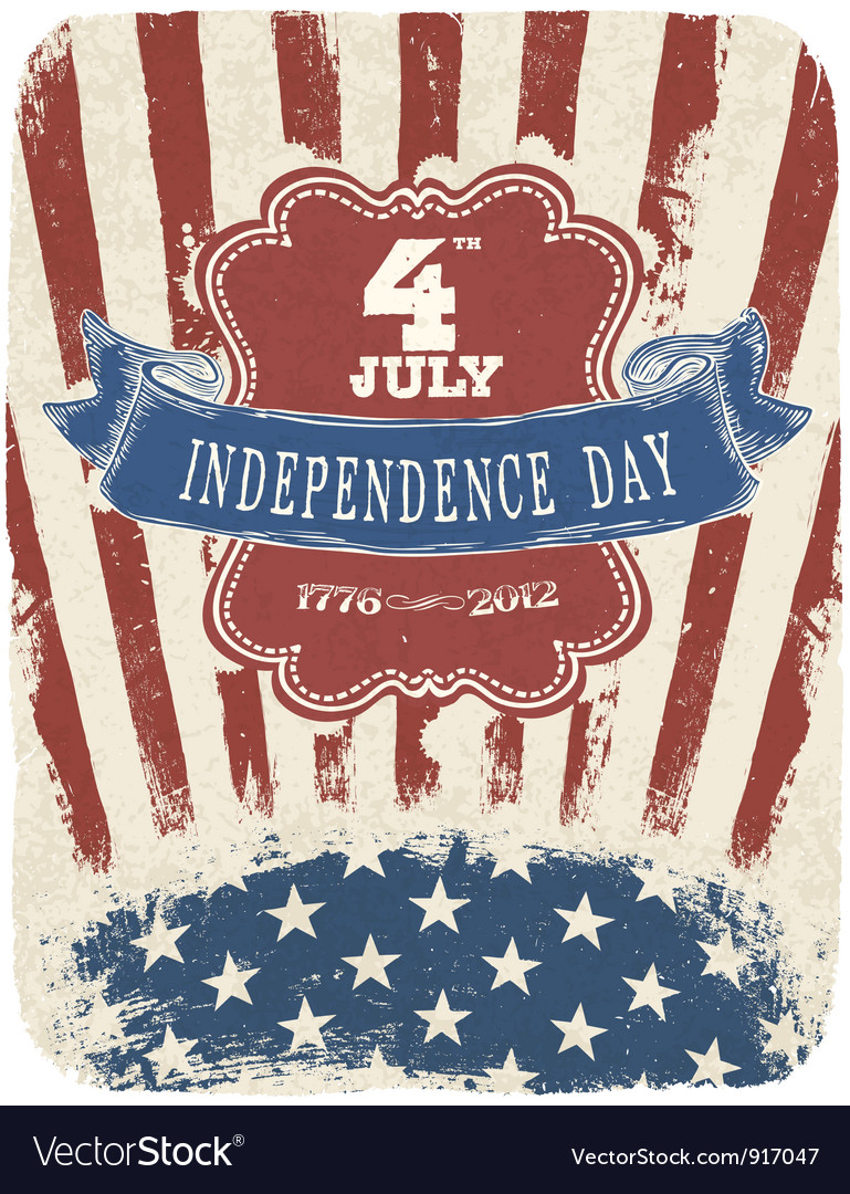 Retro poster design for independence day vector