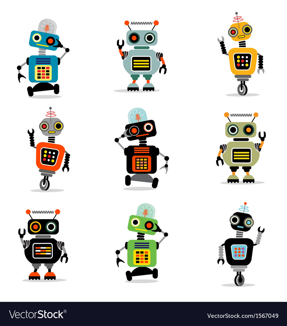 Cute robots set 3 vector