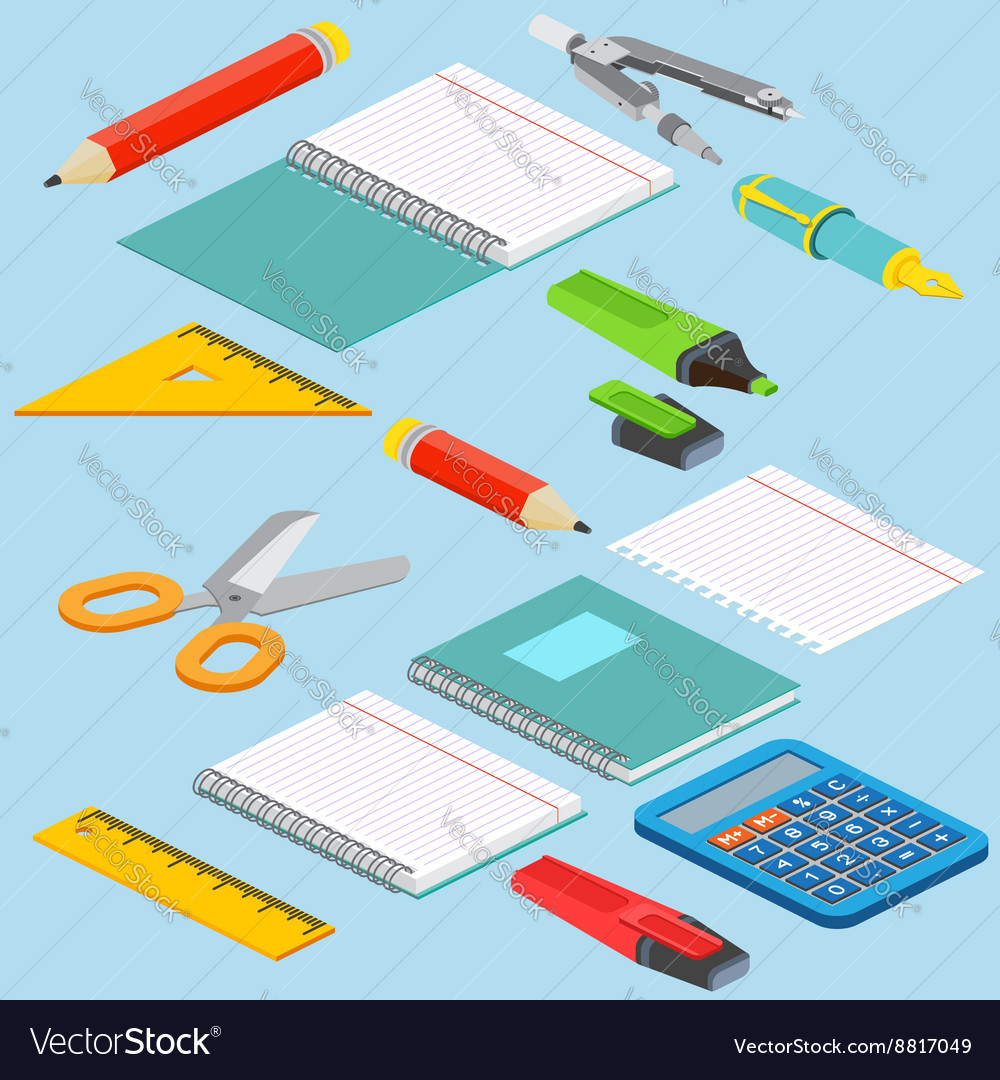 Isometric on a blue background with the image vector