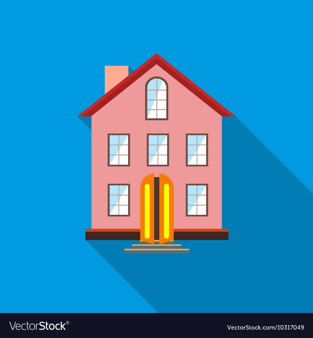 Three stored country house icon flat style vector