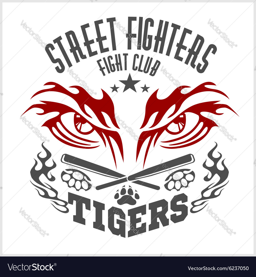 Fighting club emblem  tiger eye labels badges vector
