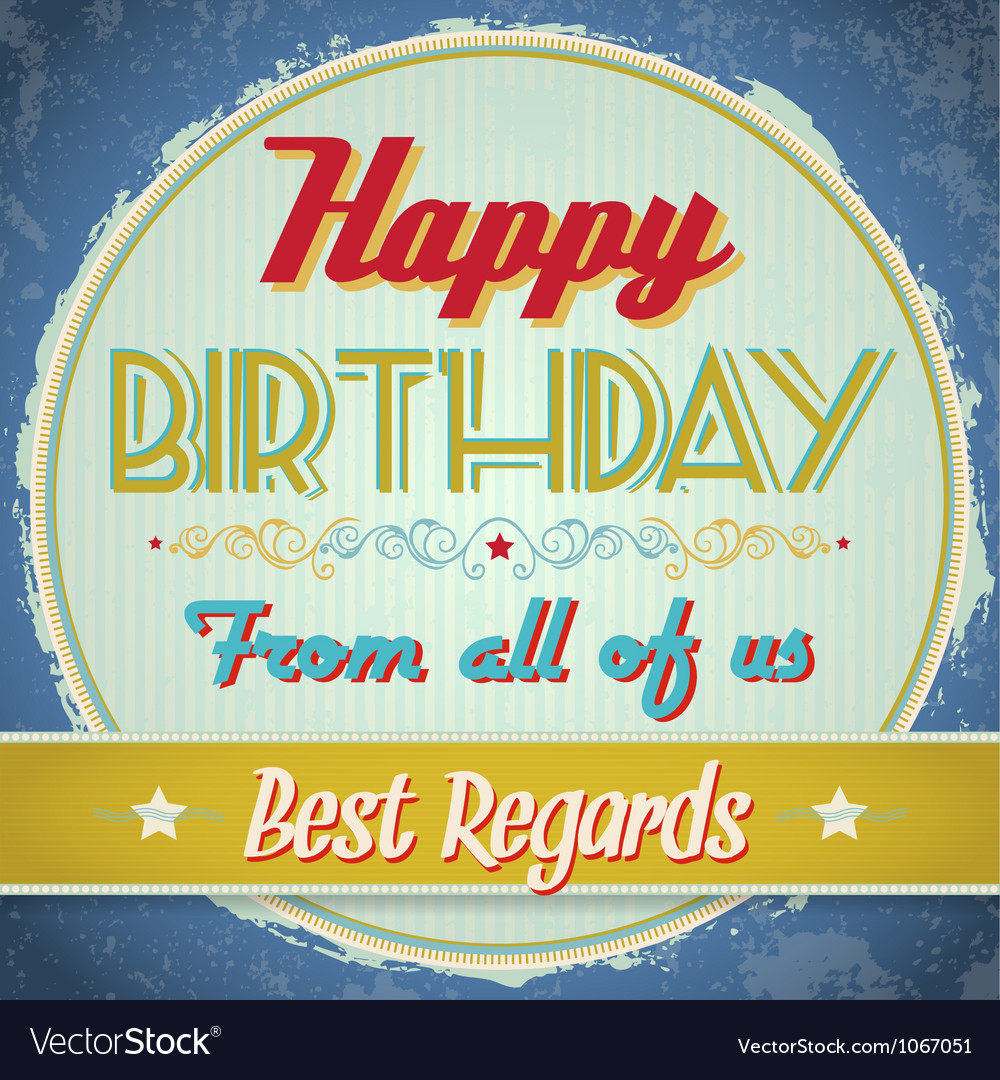 Vintage birthday card vector