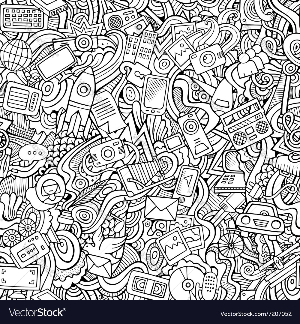 Cartoon handdrawn doodles on the subject vector