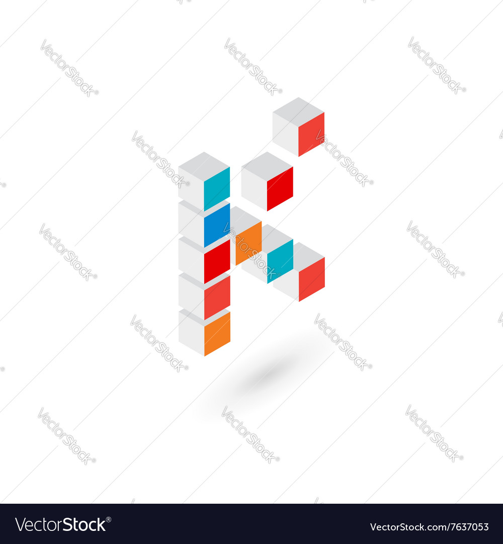 3d cube letter k logo icon design template vector