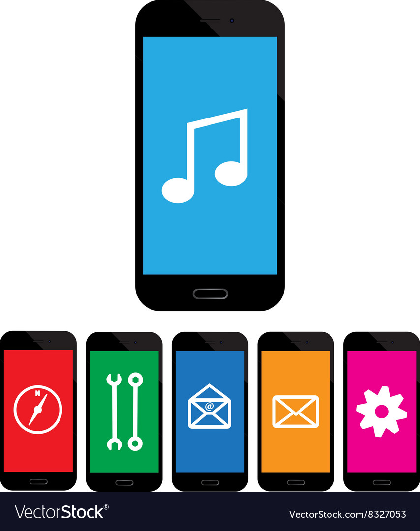 Colored mobile phone icons on white background vector
