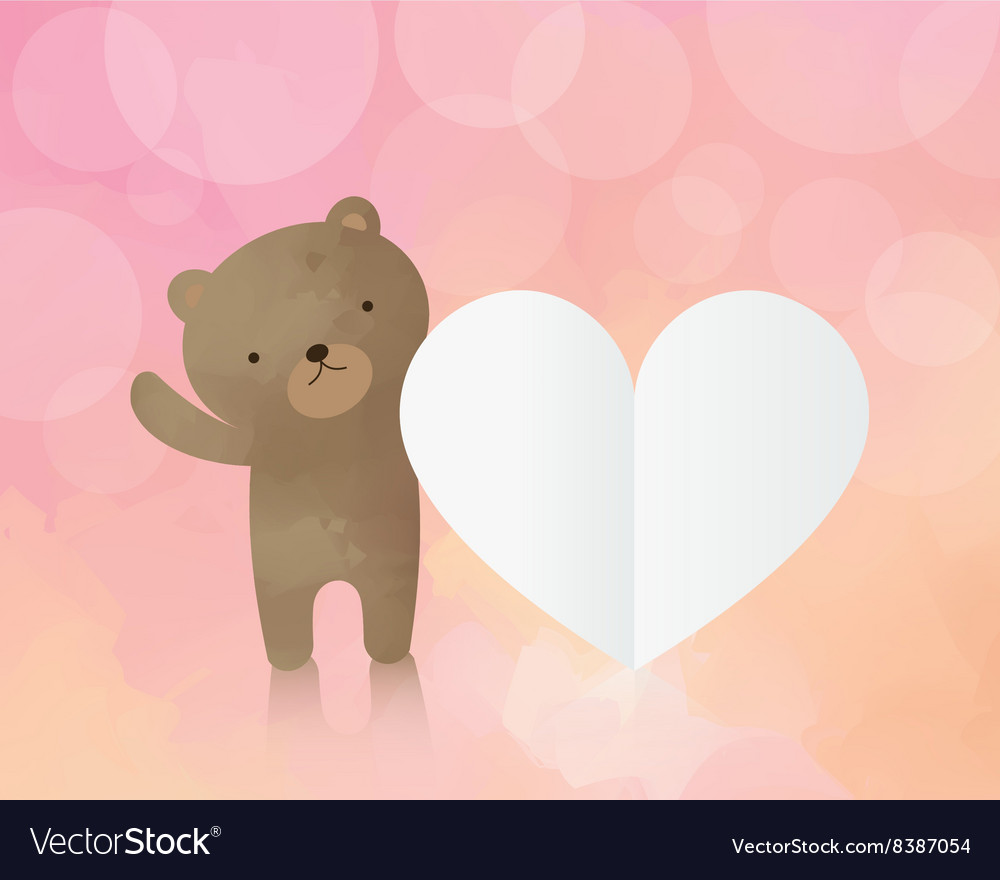 Cute teddy bear with paper heart vector